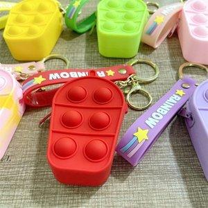 Mini Bubbles ICE Cream Silicone Purses Cute Shape Key Ring Fidget Push Bubble Puzzle Cases Wallet Coin Bags Keychain RRD11262