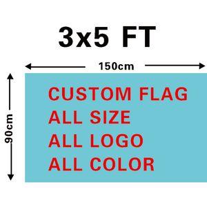 Flag di progettazione personalizzata del poliestere della stampa digitale dell'ingrosso della stampa digitale 3x5ft con due occhielli in ottone
