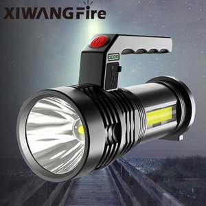 Strong light portable handheld USB rechargeable super bright COB side flood outdoor search household 210608