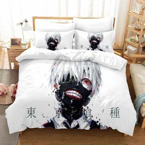 Bedding Sets Tokyo Ghoul Set Kaneki Ken Anime White Duvet Cover Single Double Full Queen King Size Home Bed Linen 2 3 Piece