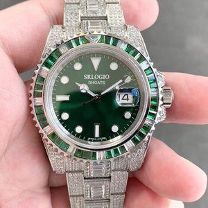 Мужские полные бриллиантные часы Полностью автоматические механические часы светящиеся наручные часы сапфировое зеркало 40 мм ремешок из нержавеющей стали водонепроницаемый