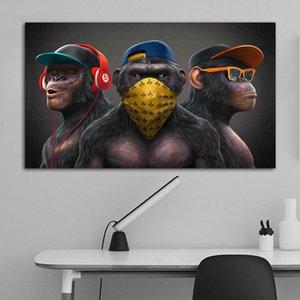 3 monos carteles fresco graffiti calle arte lienzo pintura arte de la pared para la sala de estar decoración para el hogar carteles y estampados