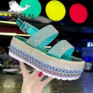 Lazyseal منصة الأحذية الصنادل المرأة الصيف مشبك شقة شاطئ بلينغ الأحذية 2020 أحذية أزياء المرأة للسيدات بوتي دمسكي X0523