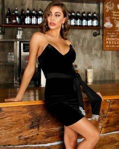Повседневные платья женщины сексуальные без бретелек с бензорной кисточкой черные алмазы блестящие бархатные леди платье 2021 дизайнерская мода вечерняя вечеринка Vestido