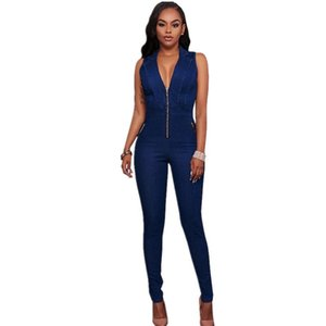 Women's Jumpsuits & Rompers 2021 Women Sexy Fashion V-neck Solid Skinny Clubwear Bodycon Party Jumpsuit Long Zipper V 1
