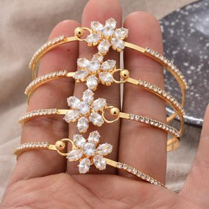 Stone Can Open Flower Dubai Gold Color Bangles For Women Girls Wife Bride Light Bangles&Bracelets Jewelry Gift Bangle