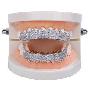 Micro Pave Cubic Zirconia Серебряное Золото Цвет Зубные Зубы Гриль Гипшоп Рокера Хэллоуин Ледяные Крышки Топбеттмы Фанг Гриль набор Bling Tool536 T2