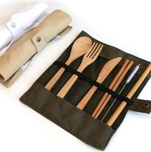 Natural Bamboo Dinnerware Sets Travel Cutlery Kit Knife Fork Spoon Straw and Cleaning Brush Camping Office Lunch with bags M2ZG