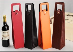 PU Leather wine champagne bottle gift bags tote travel bag leather single wine bottle carrier bag Case Organizer wine bottle GWB10784
