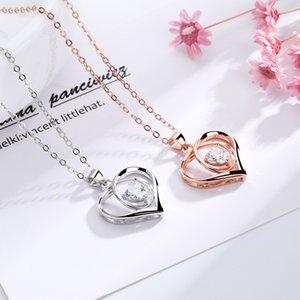 Collier coeur Femmes S925 Sliver Forever LoveHeart Colliers Je t'aime pour ma mère copine femme sans bijoux boîte cadeau