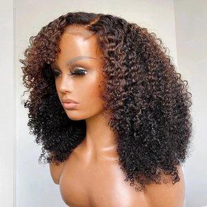 Highlight Brown Kinky Curly 13x6 прозрачный кружевной фронт человеческих волос парик с боковыми челками 360 Frontal Ombre Blonde Fringe парики реми Полные шнуры, предшествующие отбеленным