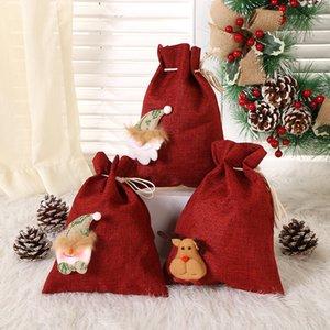 Christmas Drawstring Souvenir Bag Santa Claus Candy Gift Sack Xmas Party Hanging Decor Accessories Household Storage Bags Free DHL HH21-690