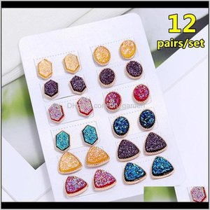 12Pair Set Colorful Resin Geometric Stu Earring For Women Jewelry Accessories Gifts Triangle Round Crystal Earring J60E6 20Dmj
