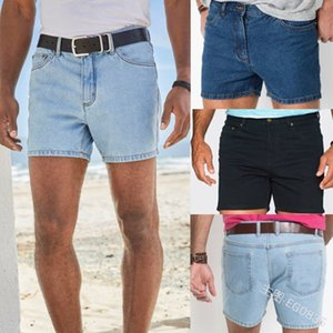 Summer New Western Fashion Shorts Jeans Men Straight Casual Trend All-match Classic Simple Denim Shorts Mens No Belt