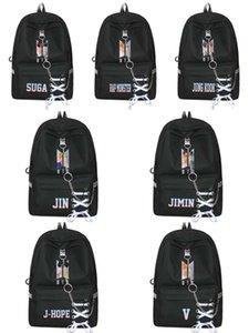 حقيبة ظهر رجالية BTS الرصاص الشباب الدوري حقيبة الظهر الأزياء الترفيه طالب المدرسية قماش الدانتيل يصل سلسلة حقيبة