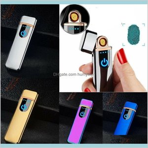 Usb Rechargeable Electric Touch Sensor Metal Cigarette Sensing Lighter Windproof Thin Charging Full Screen Lighters Mini Gadgets Yjerx Qxijc