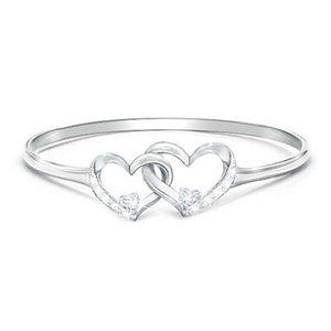 Fashion Luxury Shiny Strass Crystal Double Love Charm Anello di fidanzamento cuore per le donne anello gioielli romantici signore