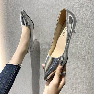 YTMTLOY Kadınlar Ayakkabı Pompaları Yeni Altın Patent Deri Sivri Burun Seksi Yüksek Topuklu Ofis Partisi Zapatos Rojos Mujer