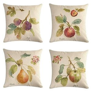 Pillow Case Hand Painted Fruits Linen Cushion Covers Set Of 4 Sofa Couch Living Room Bed Decor