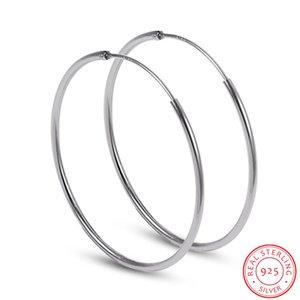 Big hoop 925 Sterling Silver female Ear the hoops Round earrings 50mm 60mm 70mm