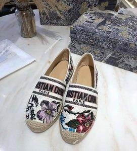Dior Granville Espadrille Kadın Kenevir Kayma 2021 Rosa Mutabilis İşlemeli Balıkçı Ayakkabı Granville Saman Rahat Loafer'lar Flats Espadrilles Boyutu 35-40