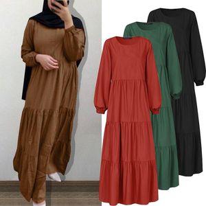Günlük Elbiseler Zanzea Sonbahar Sundress Moda Kadınlar Uzun Kollu Abaya Dubai Türkiye Müslüman Elbise O Boyun Katı Maxi Vestidos 5XL