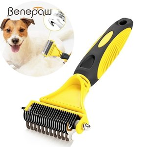 Benepaw Safe Dog Dematting Comb Pet Hair Brush Grooming 2 Sided Profsional Undercoat Rake For Easy Mats & Tangl Removing Cat