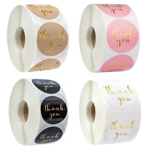 Pink Paper Label Stickers Gold Thank You Sticker Scrapbooking 500pcs for Wedding Gift Card Business Packaging Stationery Sticker GGA4301