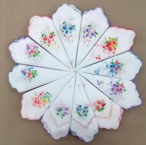 Handkerchief Floral Floral Moda Bordada Mulheres Handkerchief Flor Lady Lady Hankies Mini Squarescarf Boutique Bolso Toalha HHC6853