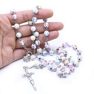 Католические шарики розарийное ожерелье красочный крест идеально подходит для первого причастия католицизм религиозный подарок