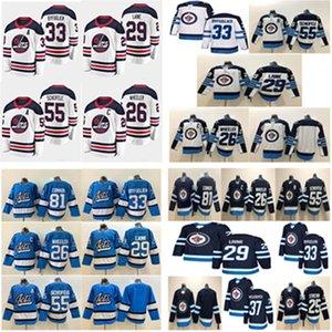 Winnipeg Jets 29 Patrik Laine Jersey 26 Blake Wheeler 33 Dustinbyfuglien 55 مارك Scheifele 37 Hellebuyck الهوكي الفانيلة