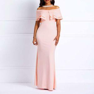 Sexy Off Shoulder Mermaid Dress Women High Waist Ruffles Slash Neck Prom Evening Floor Length Pink Sweet Elegant Bodycon Dresses MX200804