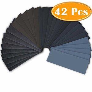 42Pc Wet Dry Sandpaper 120 To 3000 Assortment Abrasive Paper Sheets for Sanding Wood Furniture Car Stuff mesh abrasive 5 inch
