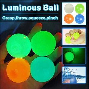 Ceiling Sticky Wall Ball Luminous Glow In The Dark Squishy Anti Stress Balls Stretchable Soft Squeeze Adult Kids Toys Party Gift