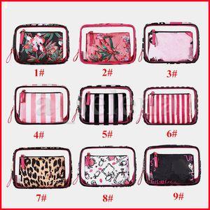 PVC Cosmetic Bags Organizer Makeup Bag Waterproof Stripe Letter Flower Leopard Travel Pouch Clutch Purses Toiletry Case 3pcs set