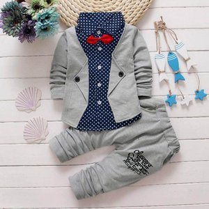 Clothing Sets Toddler Kid Baby Boys Gentry Clothes Set Polka Dot Print Patchwork Bow Long Sleeve Top+ Pants 2pc Outfits Clothes#fs