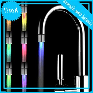Romantic 7 Color Change Led Crane Temperature Sensor Light Shower Head Water Bad Home Bathroom Glow Kitchen Tap Lighters Hot