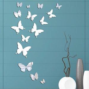 Wall Stickers Mirror Acrylic Sticker 3D Butterfly Room Decor Bathroom Waterproof Stickets DIY Mirrored Sheet Mural