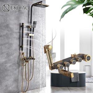 Black Golden Bathroom Ducha Faucet Set Multifuncional Faucets Llevefall Head Massage Jet Bathtub Spout Bidet Mixer Grifer Conjuntos