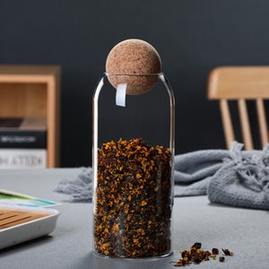 Flacon de rangement scellé de jar à jar de taille transparente 3 de taille transparente avec le bouchon de stockage de bocage en cork rond Tea Cafetière Conteneur 230 V2