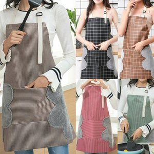 Aprons Waterproof Anti-oil Apron Adjustable Strap Sleeveless With Pockets For Kitchen Cooking Striped Plaid Unisex