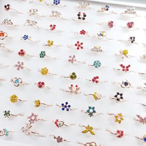 Fashion Crystal Zircon Rings For Women Colorful Sweet Flower Butterfly Ring Female Wedding Engagement Jewelry Gift