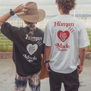 Harajuku Opening Style Human Made Girls Don not Cry T shirt Men Women Best Quality Heart print Top Tees T-shirt