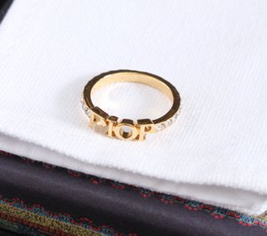 Fashion gold letter rings bague for lady women Party wedding lovers gift engagement jewelry With BOX lz325 hot sell