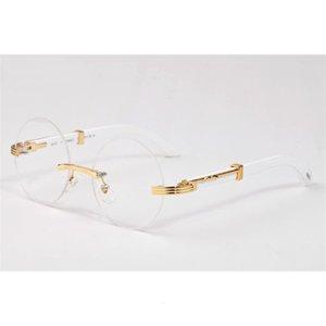 Popular buffalo horn glasses fashion new fashion sport wood sunglasses for men women retro rimless full frame clear lenses round sun glasses