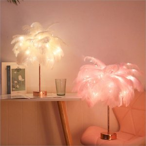 Table Lamps Remote Control Feather Lamp USB  Battery Power DIY Creative Warm Light Tree Lampshade Wedding Home Bedroom Decor