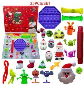 24 25 Days Christmas Fidget Toy Xmas Countdown Calendar Blind Boxes Push Bubbles Kids Gifts 10 Styles Advent Calendar Christmas Box ZZA3446