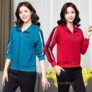 New Sportswear Terno Primavera e Outono Casaco Mãe Solta Plus Size Womens Roupas Middle-envelhecido e idosos Casaco jaqueta jaqueta Vovó Raccoon