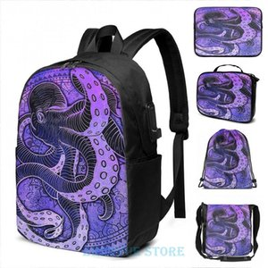 Backpack Funny Graphic Print Octopus On Damask - Purple Edition USB Charge Men School Bags Women Cosmetic Bag Travel Laptop