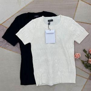 325 2021 Primavera Marca de verano Mismo estilo suéteres de alta calidad Cuello de la tripulación Impresión regular de manga corta Pultaver Impresión de mujeres Ropa de mujer Blanco Suéter negro kf